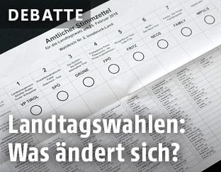 Der amtliche Stimmzettel von Tirol