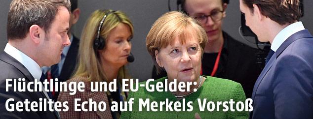 Xavier Bettel, Angela Merkel und Sebastian Kurz