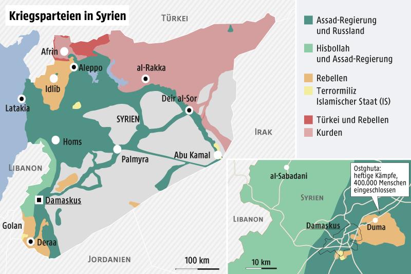 Karte von Syrien mit den umkämpften Gebieten