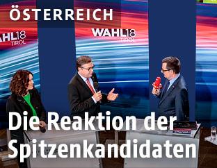 Die Spitzenkandidaten im ORF-Studio