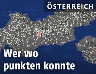 Tirol-Karte mit Gemeinden