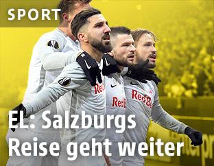 Jubelnde Salzburg-Spieler