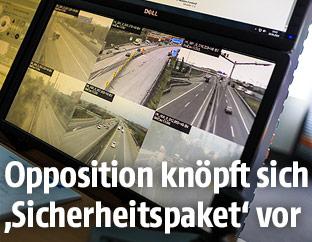 Monitore zeigen überwachte Autobahnabschnitte