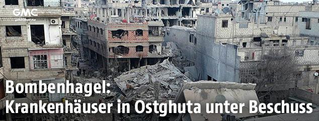 Zerbombte Häuser in Ghouta