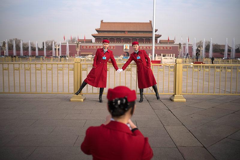 Frauen am Tiananmen-Platz
