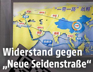 Karte zeigt chinesische Handelswege