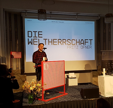 Fritz Ofner bei der Entgegennahme des Franz-Grabner-Preises 2018 im Rahmen der Diagonale in Graz.