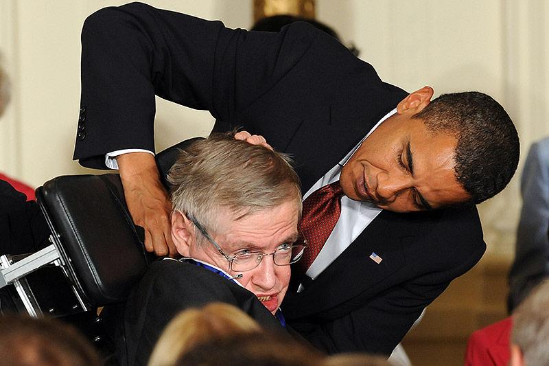Stephen Hawking mit Barack Obama
