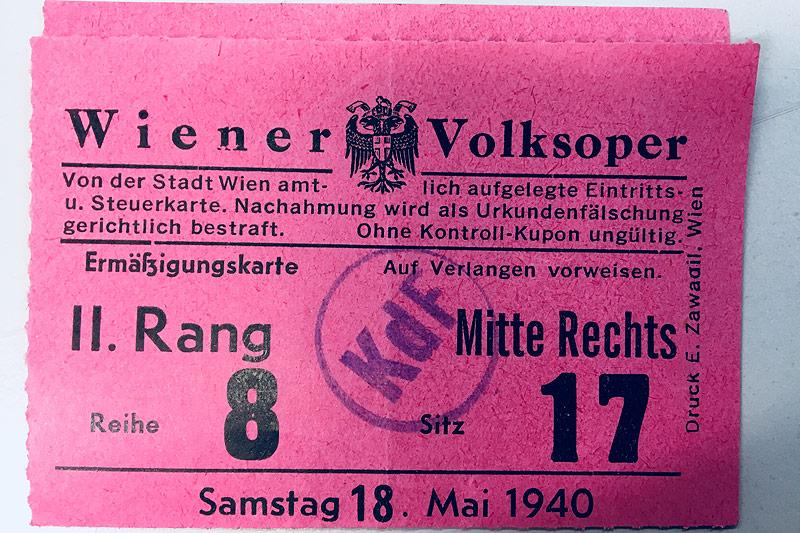 Eintrittskarte für die Staatsoper