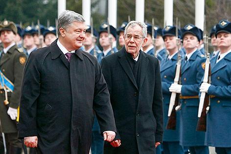 Der ukrainische Präsident Petro Poroschenko und Bundespräsident Alexander Van der Bellen