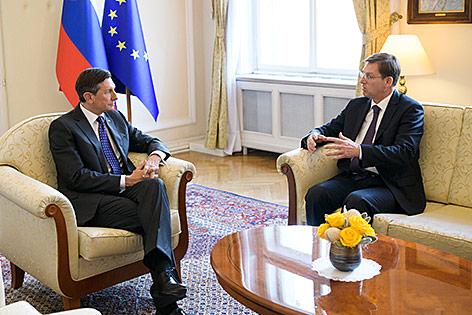 Sloweniens Präsident Borut Pahor und Sloweniens Regierungschef Miro Cerar