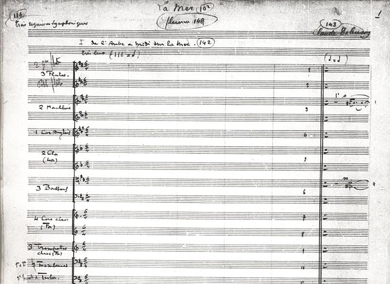 """La mer""-Manuskript, Seite 1"