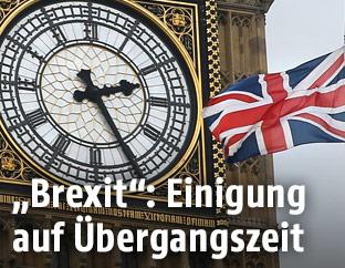 Die britische Flagge vor Big Ben