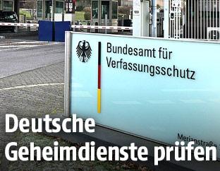 Eingang zur Zentrale des deutschen Bundesamt für Verfassungsschutz