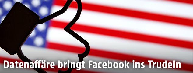 Schema eines Facebook-Like-Buttons vor der US-Flagge