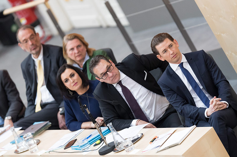 Elisabeth Köstinger, Heinz Christian Strache und Sebastian Kurz