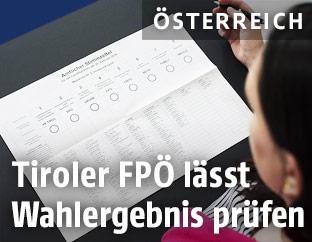 Stimmzettel in Tirol