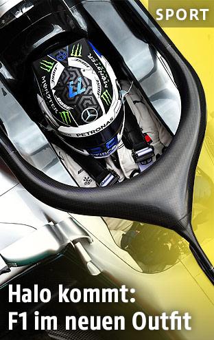 Halo-System auf einem Mercedes-Boliden