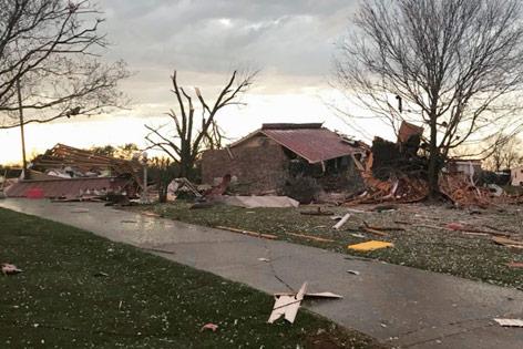 Zerstörtes Hau in Ardmore, Oklahoma (USA)