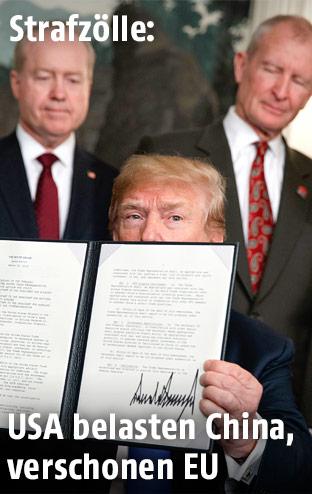 US-Präsident Donald Trump blickt hinter dem Handelsvertrag hervor