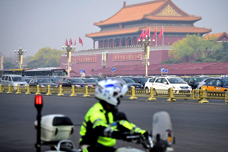 Polizei am Tiananmen Platz in Peking