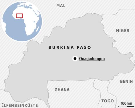 Karte zeigt Burkina Faso