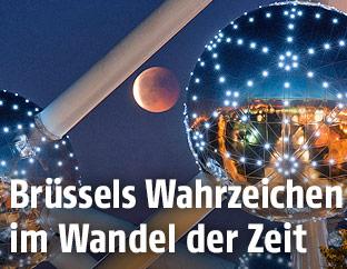 Mondfinsternis neben dem Brüsseler Atomium