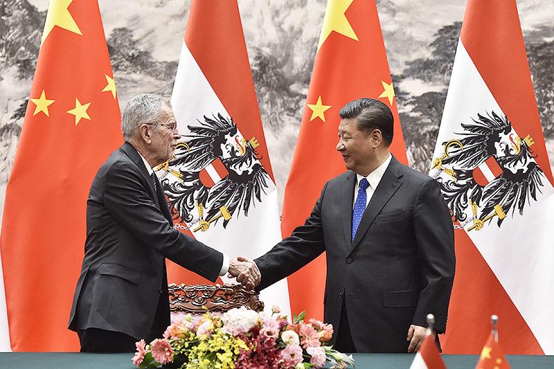 Alexander Van der Bellen und Xi Jinping
