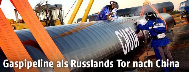 "Arbeiter bei der Gaspipeline ""Power of Siberia"""