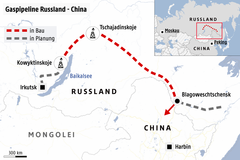 russland china karte Gaspipeline als Russlands Tor nach China   news.ORF.at