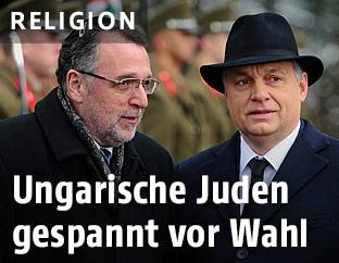 Andras Heisler, Vorsitzender der jüdischen Gemeinde in Ungarn und der ungarische Premier Viktor Orban