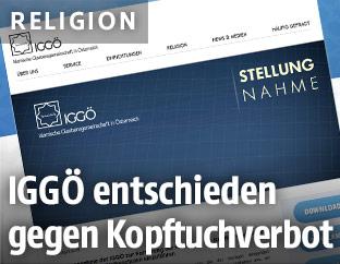 Screenshot der Seite derislam.at zeigt eine Stellungnahme des IGGÖ