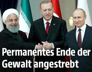 Die Präsidenten Hassan Rouhani (Iran) Recep Tayyip Erdogan (Türkei) und Wladimir Putin (Russland)