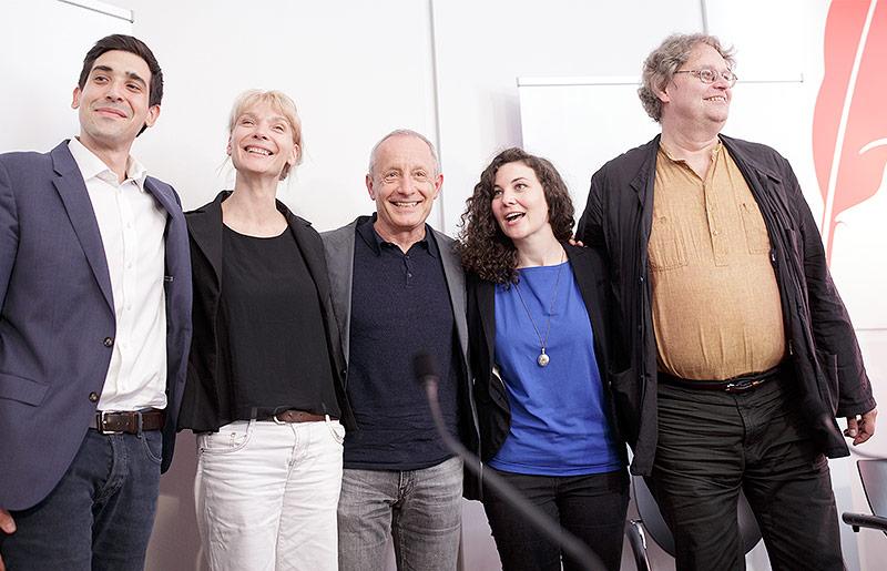 Sebastian Bohrn-Mena, Maria Stern, Peter Pilz, Stephanie Cox und  Peter Kolba bei der ersten Pressekonferenz der LIste Pilz