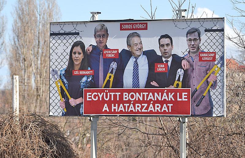 Anti-Soros-Wahlplakat im ungarischen Wahlkampf 2018