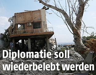 Zerstörtes Forschungszentrum bei Damaskus