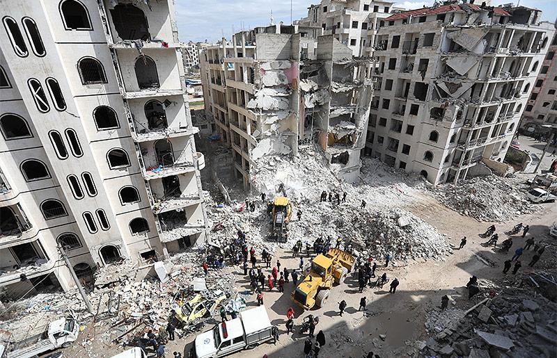 Zerstörte Wohnhäuser in Idlib