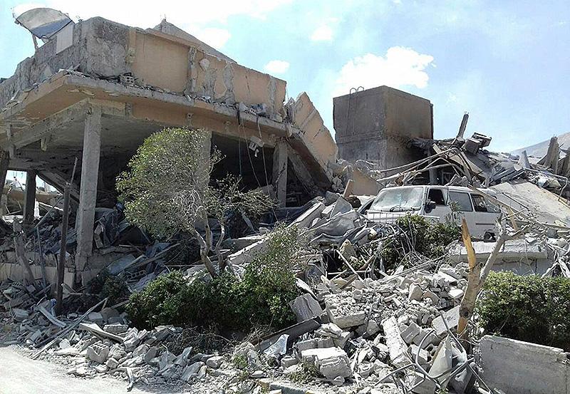 Zerstörung nach den Luftangriffen