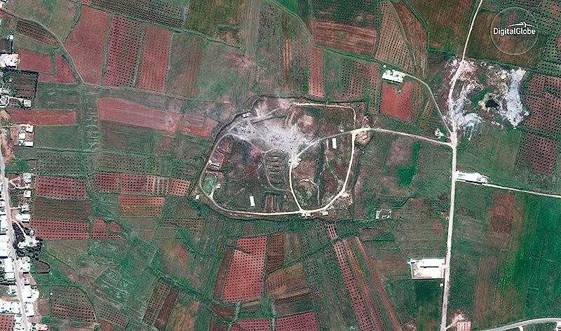 Satellitenaufnahme nach der Zerstörung eines chemischen Waffenlagers in Syrien