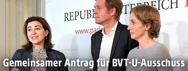 Alma Zadic (Liste Pilz), Kai Jan Krainer (SPÖ) und Stephanie Krisper (NEOS)
