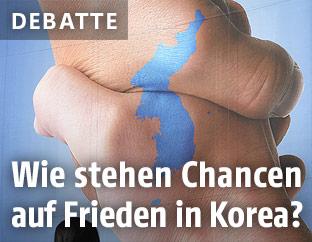 Plakat zeigt vereintes Nord- und Südkorea
