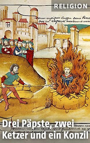 Jan Hus auf dem Scheiterhaufen (Spiezer Chronik, 1485)
