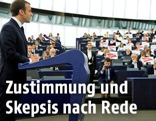 Der französische Präsident Emmanuel Macron während seiner Rede im EU-Parlament