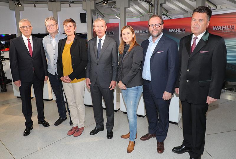 Walter Steidl (SPÖ), Karl Schnell (FPS), Astrid Rössler (Grüne), Wilfried Haslauer (ÖVP), Marlene Svazek (FPÖ), Sepp Schellhorn (NEOS) und Hans Mayr (SBG)