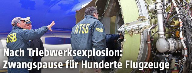 Ermittler untersuchen das zerstörte Triebwerk der Southwest-Maschine