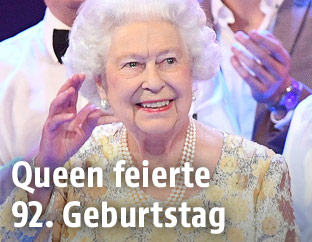 Queen Elizabeth II. auf der Bühne der Royal Albert Hall in London
