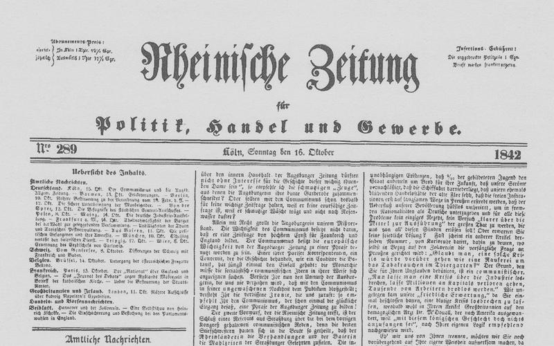 Cover der Rheinischen Zeitung
