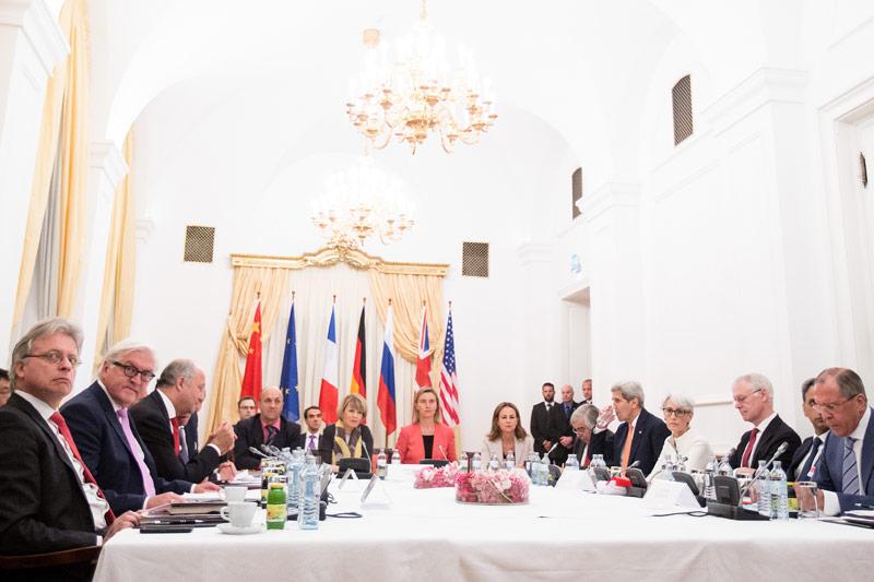 Verhandlung des Atom-Abkommens mit dem Iran im Wiener Palais Coburg