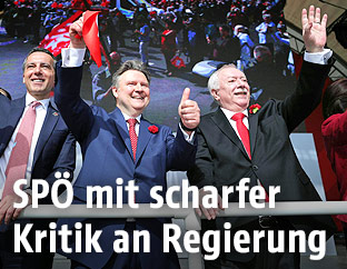 SPÖ-Chef Christian Kern, der Wiener SPÖ-Vorsitzende Michael Ludwig und Bürgermeister Michael Häupl