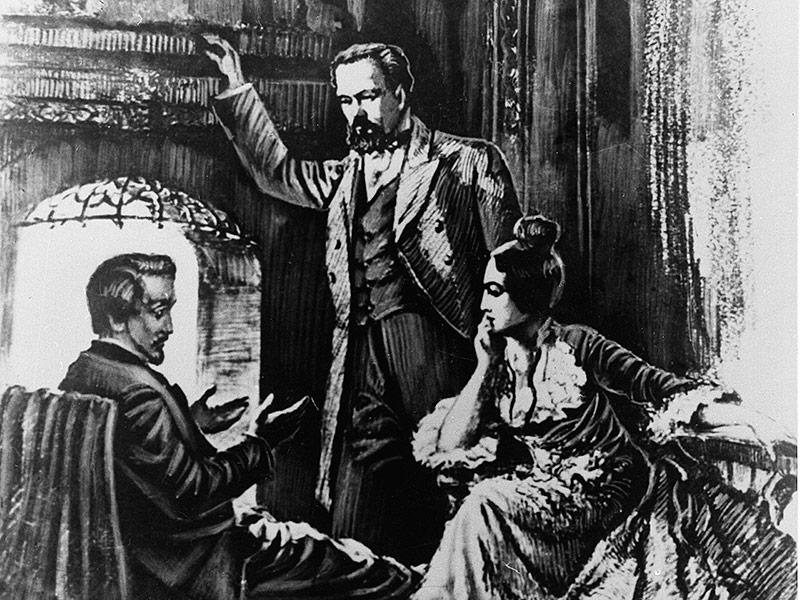 Zeichnung von Kar Marx, seiner Frau und Heinrich Heine in Paris